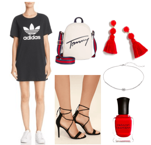 How to wear a t shirt dress for night. Nighttime outfit featuring an Adidas T Shirt dress with the signature trefoil logo. The look is completed with a pair of black laced up heels, red tassel earrings, a silver choker, red nail polish, and a miniature Tommy backpack styled as a cross body bag.