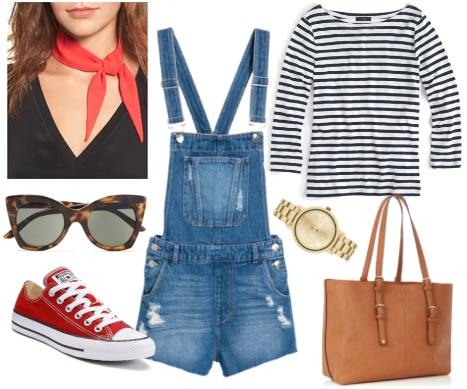 Overall shorts daytime outfit with striped shirt, neck scarf, red converse, tote, and sunglasses