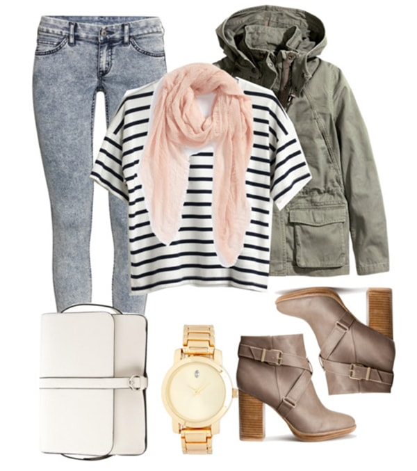 How to wear a lightweight scarf for class with a striped tee, skinny jeans, a military jacket, and heeled boots