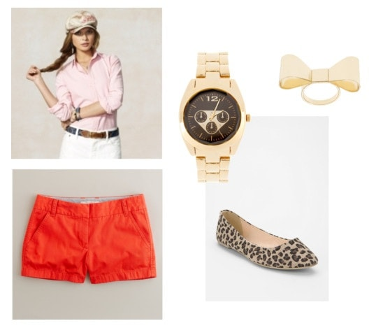 What to wear to class: Outfit 1 - Orange shorts, button-down shirt, flats