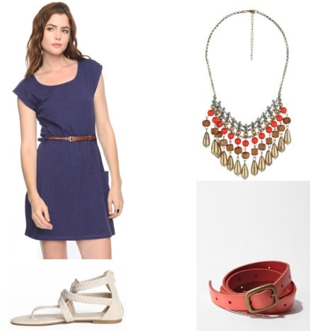 What to wear to class: Outfit 2 - Simple dress, sandals, belt