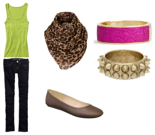 What to wear to class: Outfit 3 - Skinny jeans, tank top, scarf, flats