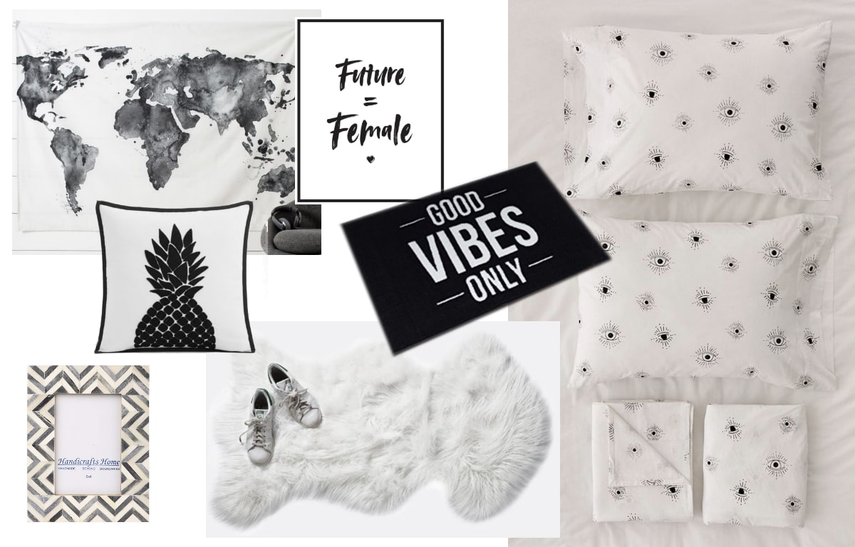 Dorm room classic black and white color inspiration shopping guide with elements from Urban Outfitters, Amazon, and Target.