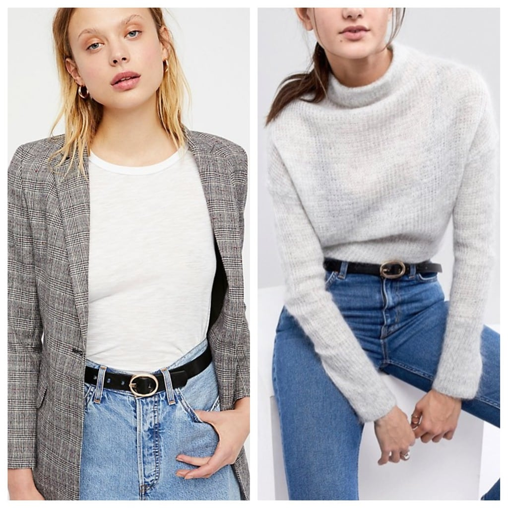 Classic Black Belt: The left photo is from Free People the right is from ASOS. The model on the left is wearing hers with high-waisted jeans, a white top, and blazer whereas the model on the right has hers with high-waisted jeans and a sweater.