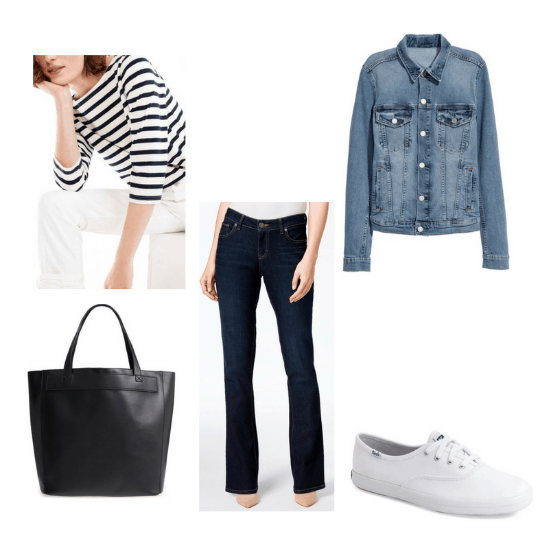 Classic finals outfit with denim jacket, striped tee, jeans, white sneakers, and black tote bag