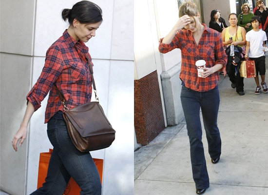 Katie Holmes in a classic plaid shirt