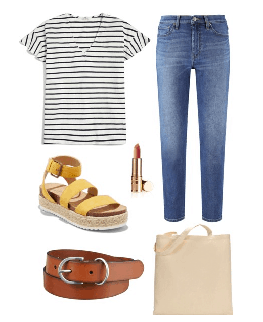 Polyvore set including: a striped tee, denim jeans, strappy yellow espadrilles, lipstick, a brown belt, and a canvas bag.
