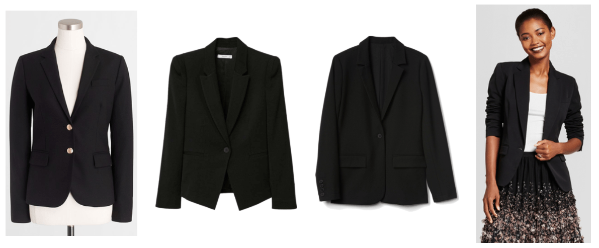 Black blazer with two gold buttons and pockets, black structured single-button blazer, black structured single-button blazer with pockets, black single-button twill blazer with pockets