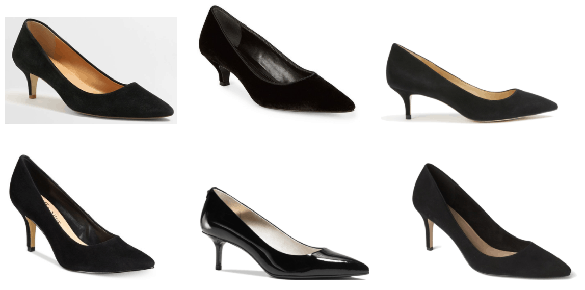 Black pointed-toe suede heels, black pointed-toe velvet heels, black pointed-toe suede heels, black pointed-toe suede heels, black pointed-toe patent heels, black pointed-toe suede heels