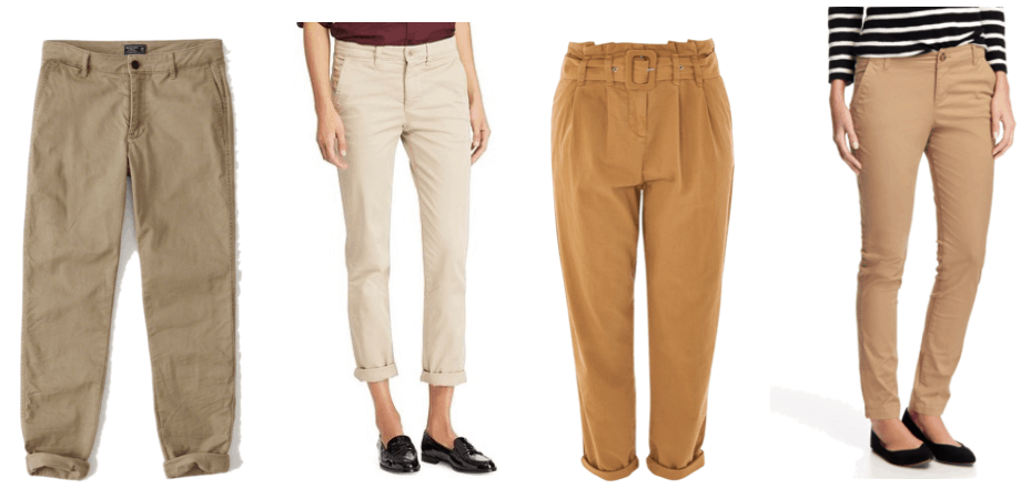 Low-rise khaki chino pants, straight-leg chino pants in light khaki, belted chino trousers in tan, mid-rise skinny khakis in medium khaki