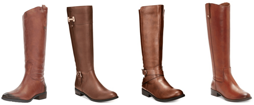 Cognac-brown knee-high riding boots with tab and dark silver hardware, cognac-brown riding boots with gold buckle and hardware details, cognac-brown riding boots with criss-cross ankle strap and silver buckle, cognac-brown riding boots with tab and gold hardware