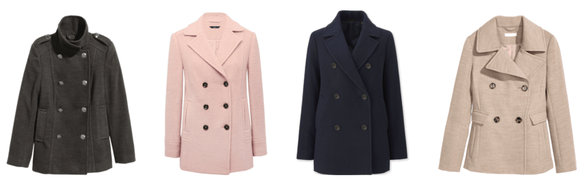 Dark gray high-collar pea coat with silver buttons and buttoned shoulder tabs, pale pink pea coat with black buttons, navy blue pea coat with black buttons, beige pea coat with brown tortoise buttons