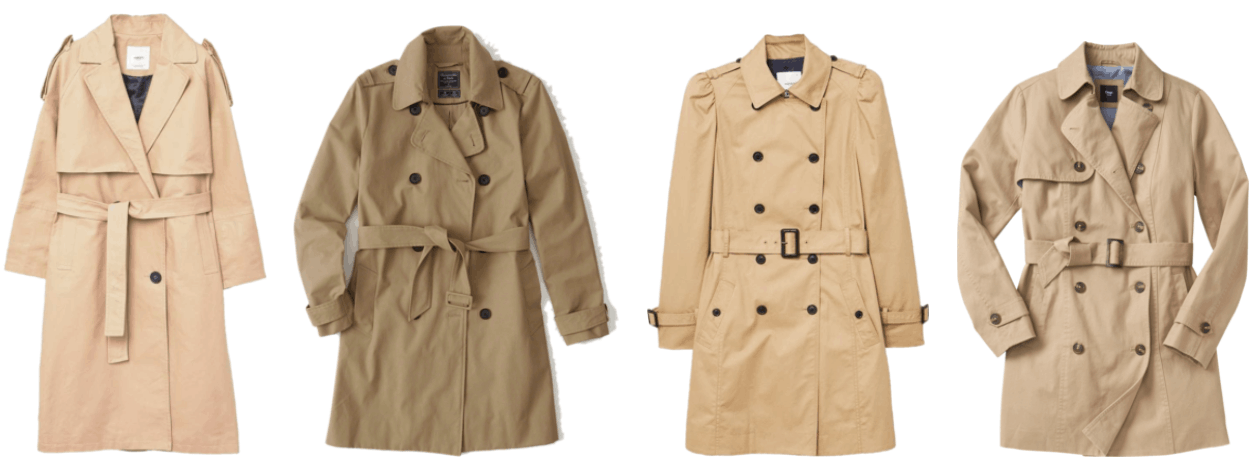 Long double-breasted beige trench coat, dark beige trench coat, puffed-shoulder trench coat with buckle belt, beige trench coat with buckle belt