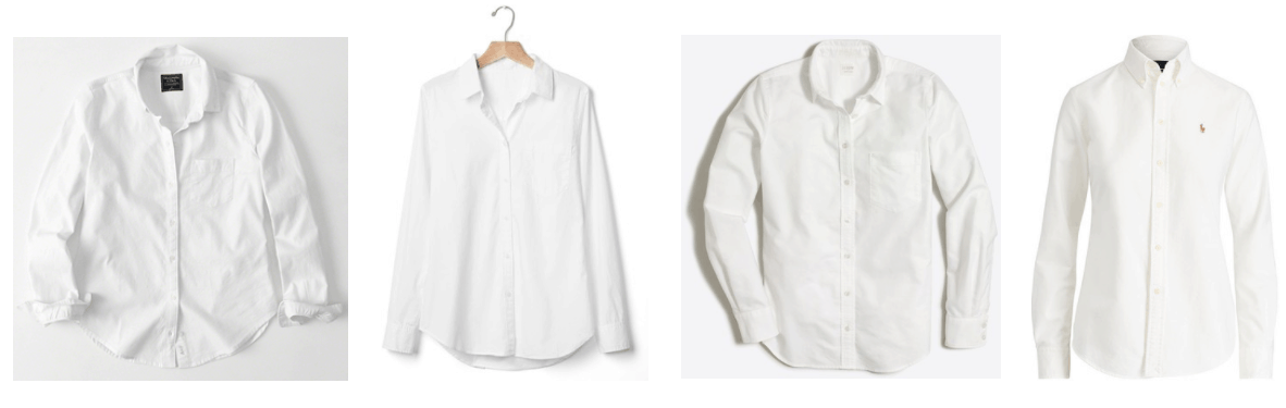 White long-sleeved oxford shirt, white long-sleeved fitted boyfriend shirt, white long-sleeved oxford shirt, white long-sleeved shirt with Polo Ralph Lauren logo