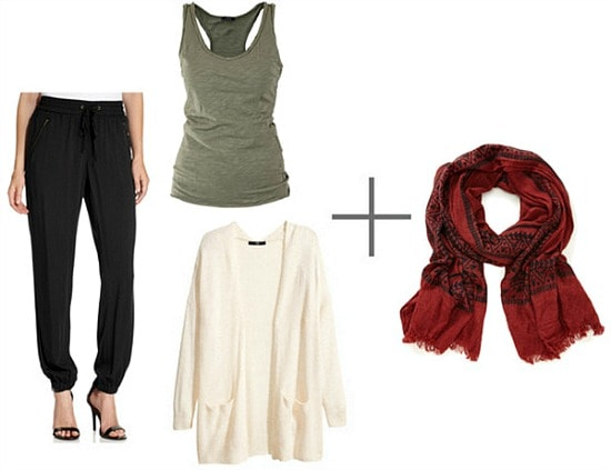 Classic wrap scarf look