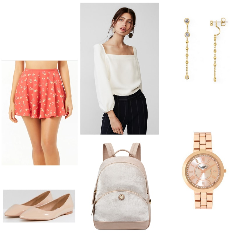 Classical music outfit with floral mini skirt, square neck top, nude backpack, gold jewelry, and nude flats