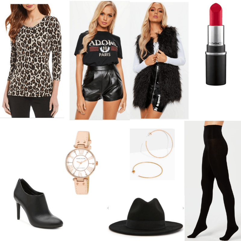 Outfit with leopard print top, leather shorts, faux fur vest, red lipstick, fedora, black tights, hoop earrings, watch, and booties
