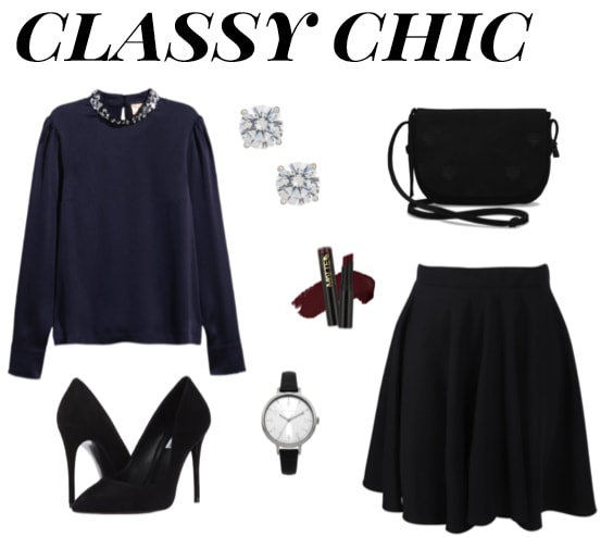 Classy chic skirt outfit with black circle skirt, black pumps, navy jewel collar sweater, black shoulder bag, classic watch, diamond stud earrings