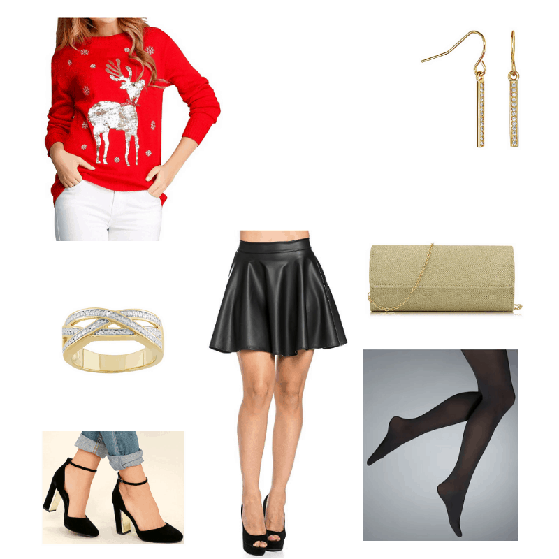 Outfit with sequin reindeer sweater, faux leather skater skirt, velvet heels, black tights, drop earrings, gold clutch, and ring