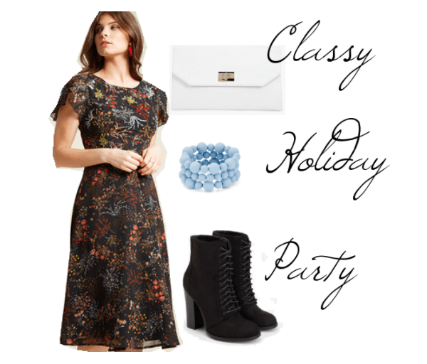 Classy holiday party outfit: Patterned midi dress, lace up ankle boots, beaded bracelets, clutch bag