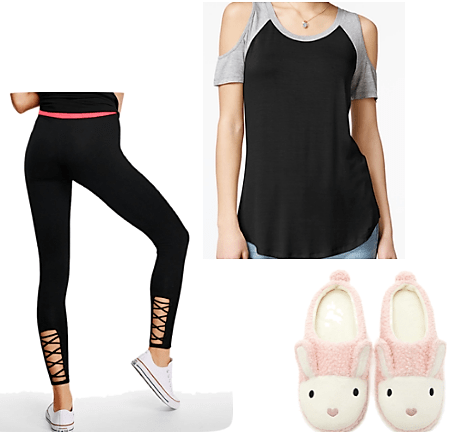 baseball t leggings bunny slippers