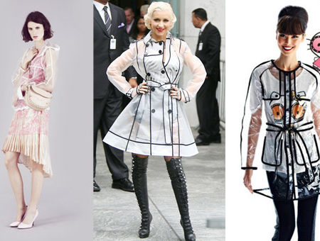 Clear trench coats in Topshop's spring 2012 lookbook, on Christina Aguilera, and in the Hello Kitty Forever 21 collection