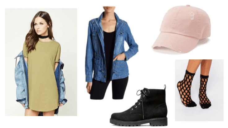 Clementine from The Walking Dead Outfit Inspiration: Light Olive T-Shirt Dress, Chunky Rubber Sole Boots, Baseball Cap, and Denim Jacket