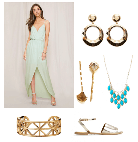A model wearing a pale green flowing maxi dress with thin straps, alongside gold plated thick hoop earrings with a circle at the top, gold fan hair pins, a gold necklace with turquoise stones in a chandelier shape, a gold cuff bracelet, and light gold shiny sandals with an ankle strap.