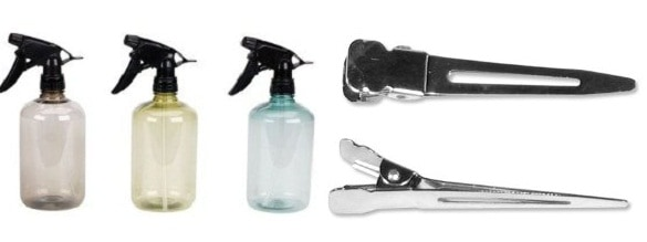 Spray Bottles and Hair Clips for sectioning