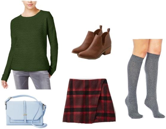 Clock Tower 3 Outfit: Green long sleeve shirt, plaid mini skirt, knee high socks, brown ankle booties, light blue cross body bag
