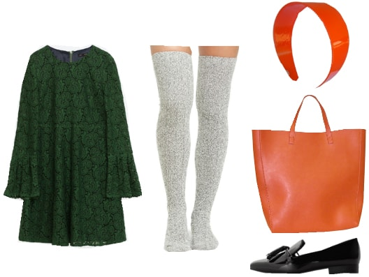 Outfit inspired by Clock Tower II: Green long-sleeve dress, thigh-high gray socks, shiny orange headband, orange tote bag, black loafers