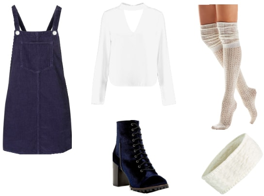 Outfit inspired by the original Clock Tower game: Blue pinafore, white blouse, black lace-up boots, knee-high white socks, white knit headband