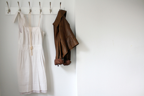 Clothes on hooks