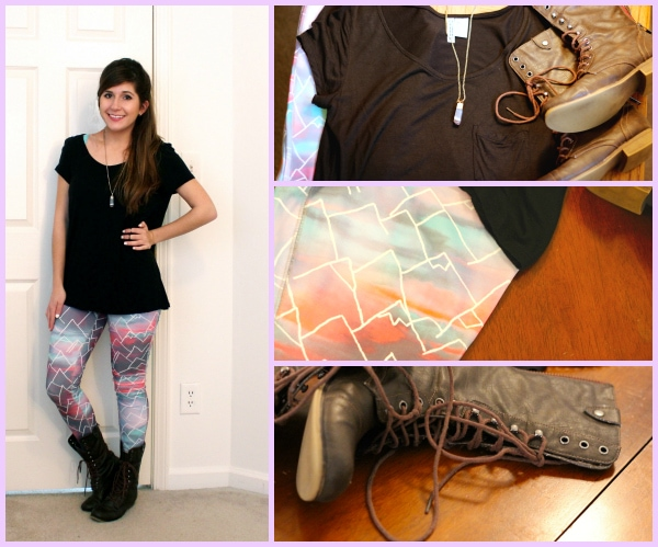 Cloudy-Pastel-Mountain-Leggings-Combat-Boots-Black-Tee-Crystal-Necklace-Ariana-Grande-One-Last-Time
