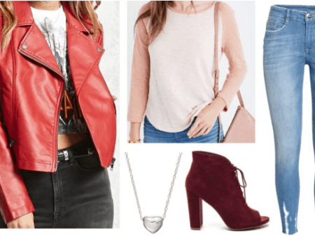 clover totally spies inspired outfit red motorcycle jacket pink baseball tee skinny jeans red booties silver heart necklace