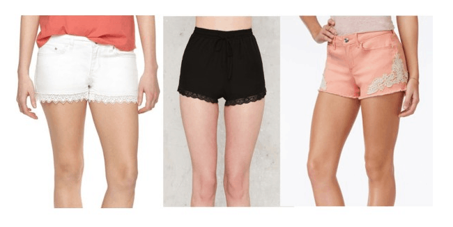 Class to Night Out: Lace Trim Shorts