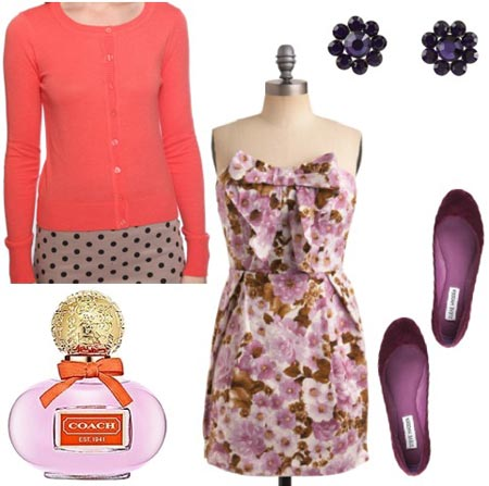 Coach Poppy Outfit 1: Purple floral dress, coral cardigan, purple flats, flower earrings