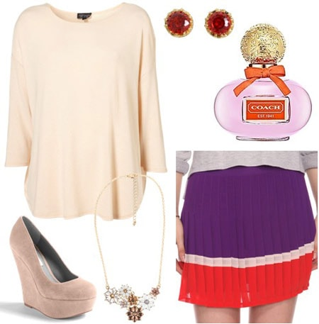 Coach Poppy Outfit 2: Purple and red skirt, beige sweater, beige wedge heels, floral necklace and red earrings