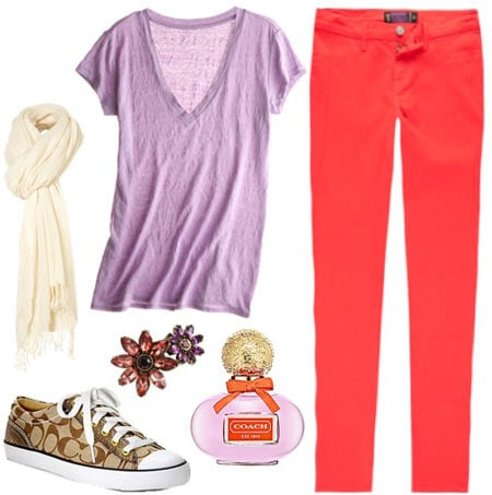 Coach Poppy Outfit 3: Purple v-neck tee, coral skinny jeans, coach sneakers, beige scarf
