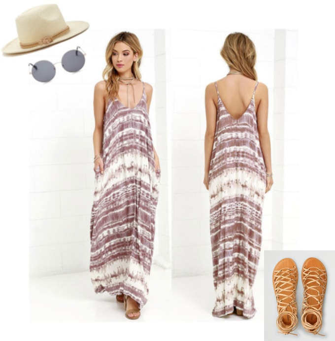 Coachella 2018 outfit 3: tie dye, maxi dress, gladiator sandals, straw hat, sun hat, sunglasses, boho, bohemian