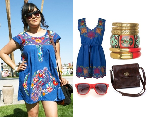 An embroidered dress on a fashionista at Coachella 2010