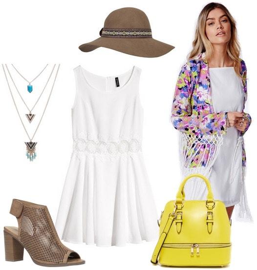 Coachella outfit white dress and fringe kimono