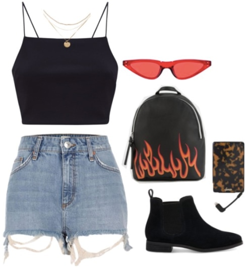 Coachella outfit idea: Cutoff denim shorts paired with a black strappy crop top and suede ankle booties. Accessories include a mini backpack, orange sunglasses, a portable phone charger and a layered necklace.