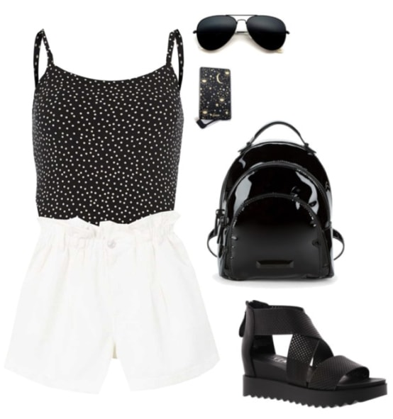 Black bodysuit paired with white high waisted shorts and sandals. Accessories include a black backpack, sunglasses and a portable charger