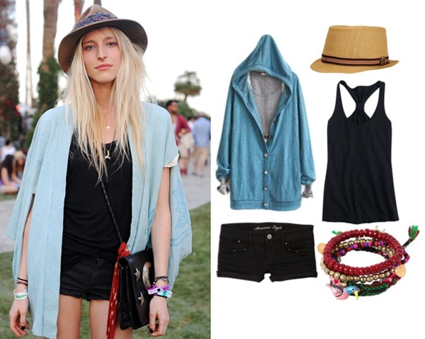 Coachella street style - girl wearing a fedora