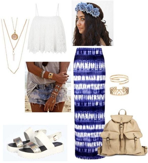 Cochella look: maxi skirt and crop top