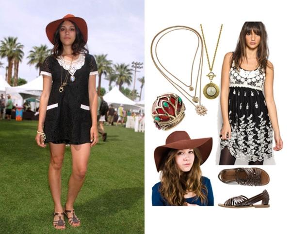 A lace dress worn by a fashionista at Coachella