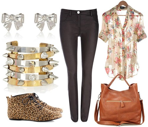 How to style coated jeans for day with a floral blouse, tan satchel, leopard boots, spiked bangles, and bow earrings