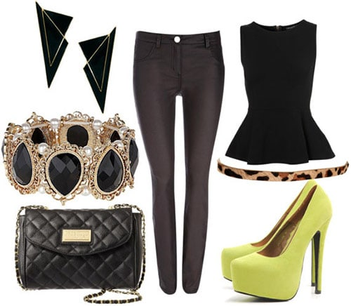 How to style coated jeans for night with a black peplum top, leopard belt, neon pumps, geometric earrings, a black and gold bracelet, and quilted black bag
