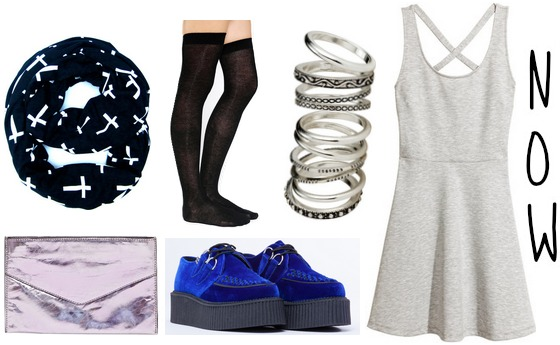 Cobalt creepers, gray dress, knee high socks